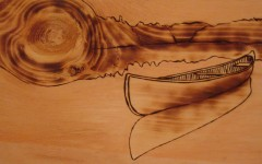 Cedar strip canoe wood burning