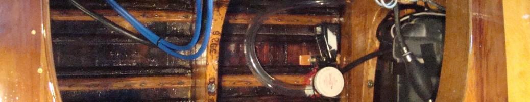 Antique wooden boat restoration image