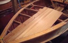 Oak trim with cedar deck being installed