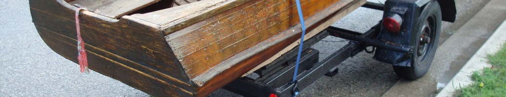 Antique wooden boat restoration image